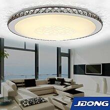 JDONG Moderne LED Deckenleuchte Deckenlampe Glas Kristall Dekoration 30W hohe Lichtdurchlässigkeit drei Lichtfarben(Set mit Wandschalter)