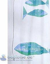 JEANETTE Duschvorhang PEVA 180 x 200 cm weiß/blau/grün türkis Fischers Fritz