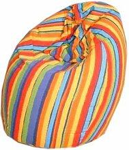 Jeans Sitzsack / Bean Bag mit Baumwollbezug in buntem Streifenmuster - 75 x 95 cm