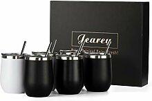 Jearey Weinglas ohne Stiel, 340 ml, Edelstahl,