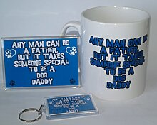 Jeder Mann Can Be A Father But it Takes Someone Special to be a Zwergspitz Daddy – Becher, Kühlschrank Magnet, Schlüsselanhänger Geschenk-Set ideal für Hundebesitzer