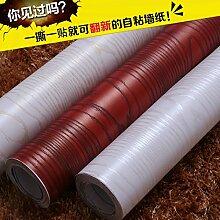 Jedfild Dicke Mobiliar Aufkleber Tapete 3D Sync mit Holzmaserung Aufkleber Boeing film Fliesen wasserdicht Tapete ist groß, und das dunkle Holz Breite 61 cm/1 m