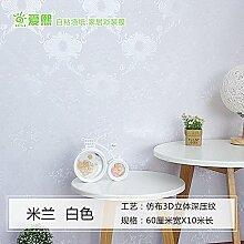 Jedfild Dicke PVC-Folie, selbstklebend Tapeten Tapeten wasserdicht Schlafzimmer gemütliche im Europäischen Stil wand Wohnzimmer Möbel renovierte Herberge, Mailand weiß, extra große