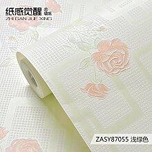 Jedfild Floraler Tapete Schlafzimmer Gitter Vlies Tapete idyllische kleine frische Tapete Tapete, Hellgrün