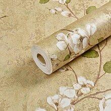 Jedfild Landschaft Pflaumenblüten Vliesstoffe Tapete Vintage mit Schlafzimmer Wohnzimmer TV Hintergrundbild, Ein Schild Das Gelbe Muster