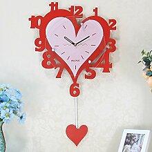 Jedfild Uhren personalisierte Uhr Karikatur Wanduhr Mode kreativ Wohnzimmer Herz Pendeluhr hängenden Tabelle silent Möbel Ornamente, 20 Zoll (Durchmesser 50,5 cm), ro