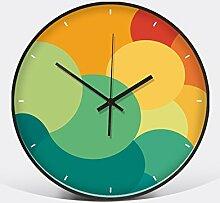 Jedfild Wanduhr mit einem minimalistischen und zeitgemäßen Wohnraum kreative Uhren Schlafzimmer trendy metallic Zimmer stumm, D