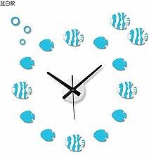 Jedfild Wanduhr Wohnzimmer, blauen und weißen Fisch