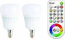 Jedi Lighting iDual RGB LED-Lampe E14/230V 2er Pack, dimmbar, Warmton, Farbwechsler mit Fernbedienung.  Plug & Play Installation.  470 lm.