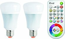 Jedi Lighting iDual RGB LED-Lampe E27/230V 2er Pack, dimmbar, Warmton, Farbwechsler mit Fernbedienung.  Plug & Play Installation. 806 lm.