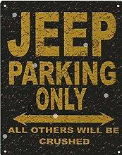 Jeep Metall Parking Rustikaler Stil den großen 30,5x 40,6cm 30x 40cm Auto Schuppen Dose Garage Werkstatt Art Wand Spiele Raum