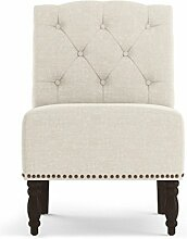 Jellywood® MCRAL Barock Polster Sitzbank mit Rückenlehne /Lounge-Sessel ohne Armlehnen, dicke Polsterung mit Federung Sitzhöhe 45 cm Beige (Cream)