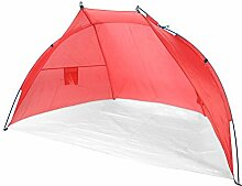 JEMIDI Strandmuschel Strandzelt Sonnenschutz Sonnenzelt Sonnenschutz Strand Muschel Zelt Camping 218cmx 115cm (Rot)