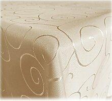 JEMIDI Tischdecke Bronze Ornamente Creme 130x260
