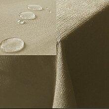 JEMIDI Tischdecke / Gartentischdecke Lotus Effekt Leinenoptik Tischdecke Decke Leinen Fleckschutz XL Sand Eckig 90cm x 90cm