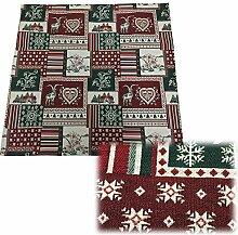JEMIDI Tischdecke Mitteldecke Weihnachten Advent Tischläufer Decke Weihnachtlich Mitteldecke Patchwork 85cm x 85cm