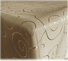 JEMIDI Tischdecke Ornamente Seidenglanz Edel Tisch Decke Tafeldecke 31 Größen und 7 Farben Cappuccino 135x200