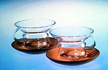 Jenaer Glas Teetasse Country mit Holzuntertasse -