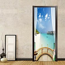 JENRJZ Fototapete Selbstklebend 3D Effekt Balkon