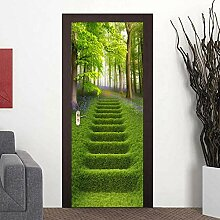 JENRJZ Türposter Selbstklebend 3D Waldgrün Gras