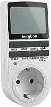 Jerrybox Digitale Zeitschaltuhr Kabelloser Elektrischer Steckdosenschalter mit Kindersicherung und Zufallsschaltung, Großes LCD Display, 10 Konfigurierbare Schaltprogramme, 24 Stunden/7 Tage Timer, 12/24h-Modus, Energiesparend für Haushaltsgeräte, Weiß