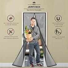 Jerrybox Fliegengitter Tür Fliegenvorhang Fliegenschutz Insektenschutz mit Magnetverschluss Magnetvorhang für Balkontür/Türen, 110 x 220 cm, Schwarz