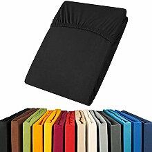 Jersey Spannbettlaken 180x200 - 200x200 Viana Spannbetttuch 100% Baumwolle aqua-textil Bettlaken 0011894 schwarz