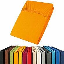 Jersey Spannbettlaken 180x200 - 200x200 Viana Spannbetttuch 100% Baumwolle aqua-textil Bettlaken 0011890 orange