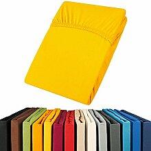 Jersey Spannbettlaken 90x200 - 100x200 Viana Spannbetttuch 100% Baumwolle aqua-textil Bettlaken 0011856 gelb
