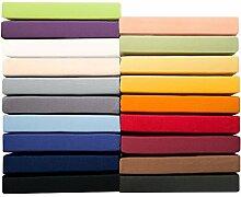 Jersey Spannbettlaken 90x200 - 100x220 cm für Boxspringbetten u. Wasserbetten, Mako-Baumwoll Qualität, klassisches Spannbetttuch für hohe Matratzen, creme gelb, aqua-textil 0010156 Serie PUR