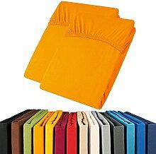 Jersey Spannbettlaken Doppelpack 90x200 - 100x200 Viana Spannbetttuch 100% Baumwolle aqua-textil Bettlaken 0011904 orange