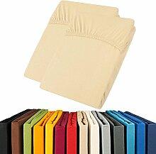 Jersey Spannbettlaken Doppelpack 90x200 - 100x200 Viana Spannbetttuch 100% Baumwolle aqua-textil Bettlaken 0011903 natur