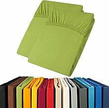 Jersey Spannbettlaken Doppelpack 90x200 - 100x200 Viana Spannbetttuch 100% Baumwolle aqua-textil Bettlaken 0011900 grün
