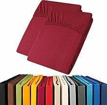 Jersey Spannbettlaken Doppelpack 90x200 - 100x200 Viana Spannbetttuch 100% Baumwolle aqua-textil Bettlaken 0011897 bordeaux ro