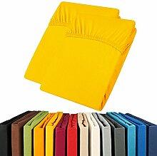 Jersey Spannbettlaken Doppelpack 90x200 - 100x200 Viana Spannbetttuch 100% Baumwolle aqua-textil Bettlaken 0011898 gelb
