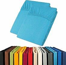 Jersey Spannbettlaken Doppelpack 90x200 - 100x200 Viana Spannbetttuch 100% Baumwolle aqua-textil Bettlaken 0011901 blau