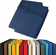 Jersey Spannbettlaken Doppelpack 90x200 - 100x200 Viana Spannbetttuch 100% Baumwolle aqua-textil Bettlaken 0011899 dunkel blau