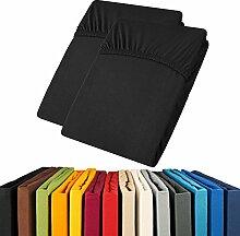 Jersey Spannbettlaken Doppelpack 90x200 - 100x200 Viana Spannbetttuch 100% Baumwolle aqua-textil Bettlaken 0011908 schwarz