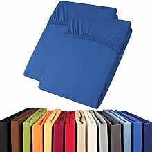 Jersey Spannbettlaken Doppelpack 90x200 - 100x200 Viana Spannbetttuch 100% Baumwolle aqua-textil Bettlaken 0011905 royal blau