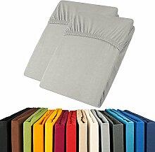 Jersey Spannbettlaken Doppelpack 90x200 - 100x200 Viana Spannbetttuch 100% Baumwolle aqua-textil Bettlaken 0011902 grau