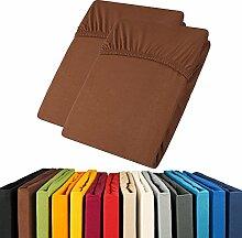 Jersey Spannbettlaken Doppelpack 90x200 - 100x200 Viana Spannbetttuch 100% Baumwolle aqua-textil Bettlaken 0011907 braun