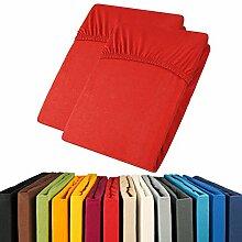 Jersey Spannbettlaken Doppelpack 90x200 - 100x200 Viana Spannbetttuch 100% Baumwolle aqua-textil Bettlaken 0011906 ro