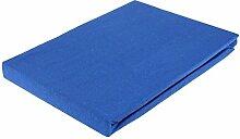 Jersey Spannbettlaken Spannbetttuch 90-100x200 cm einfarbig Baumwolle 30cm Steghöhe ., Farbwahl:dunkelblau