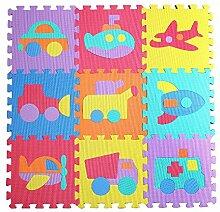 Jessie&Letty 90*90cm Soft Foam Fahrzeuge Früchte Zoo Tier Puzzlematte Puzzle Playmat Spielmatte Spielteppich Puzzle 9-teilig Kinderteppich (Car)