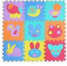 Jessie&Letty 90*90cm Soft Foam Fahrzeuge Früchte Zoo Tier Puzzlematte Puzzle Playmat 9-teilig Kinderteppich Spielmatte Spielteppich Puzzle (Zoo)