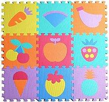 Jessie&Letty 90*90cm Soft Foam Fahrzeuge Früchte Zoo Tier Puzzlematte Puzzle Playmat 9-teilig Kinderteppich Spielmatte Spielteppich Puzzle (Fruit)