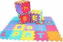 Jessie&Letty 90*90cm Soft Foam Früchte Fahrzeuge Zoo Tier Puzzlematte Puzzle Playmat 9-teilig Kinderteppich Spielmatte Spielteppich Puzzle Alphabet & Numbers (Alphabet & Zahlen)