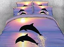 JF-034 schöne bunte Delphin springen aus Meer mit Sonnenuntergang drucken Kids Twin Bett Bettwäsche Queen Bettbezüge
