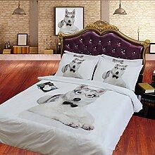 JF-103 4 Stk 3D HD Digital Print Tencel Schwere Hund drucken Bettwäsche Doppelbett Einzelbett voll König Bettbezug