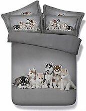 JF 107 schöne Husky Babys 5 Stk Tröster betten Einzelzimmer Doppelzimmer Super King size Bett in einem Beutel Husky Hund drucken Bettdecke gesetz